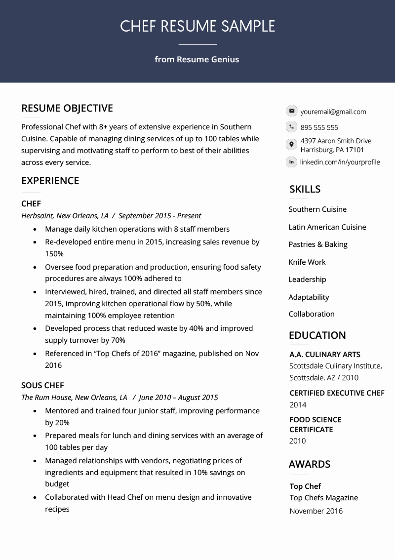 Where to Find Resume Templates Beautiful Chef Resume Sample & Writing Guide