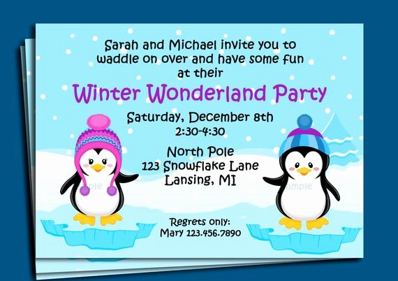 Winter Wonderland Invitation Template Free Beautiful Penguin Winter Wonderland Invitation Printable or Printed