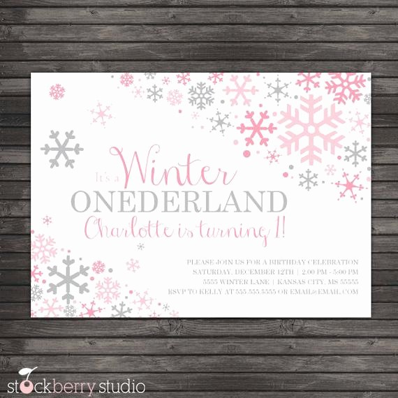 Winter Wonderland Invitation Template Free Beautiful Winter Ederland Invitation Printable Pink Gray Winter