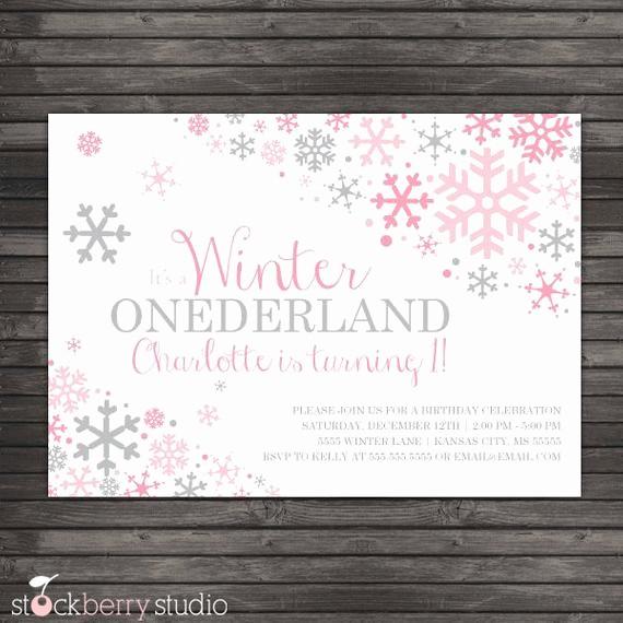 Winter Wonderland Invitation Template Free Beautiful Winter Ederland Invitation Printable Pink Gray Winter