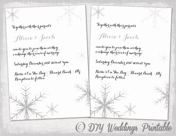 Winter Wonderland Invitation Template Free Beautiful Winter Wedding Invitation Template Snowflakes Diy