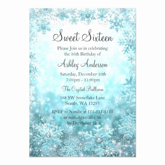 Winter Wonderland Invitation Template Free Best Of Sweet 16 Winter Wonderland Sparkle Snowflakes Invitation