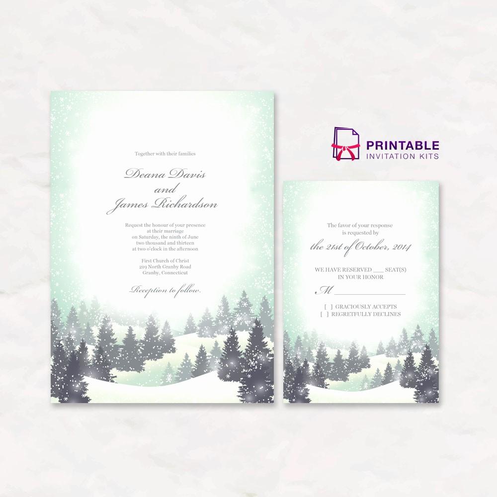 Winter Wonderland Invitation Template Free Best Of Winter Wonderland Wedding Invitation and Rsvp Templates