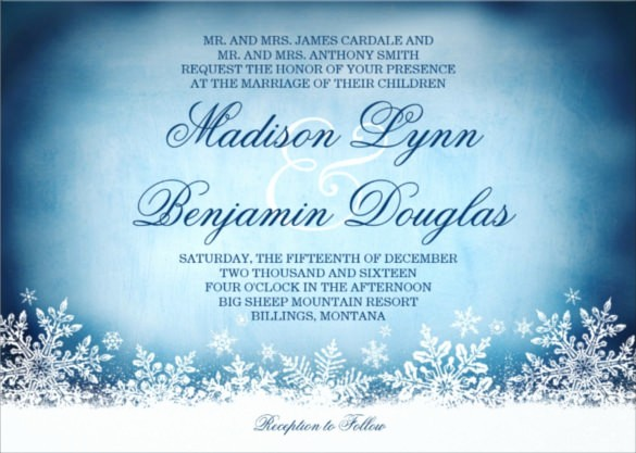 Winter Wonderland Invitation Template Free Elegant 14 Winter Wedding Invitation Templates – Sample Example