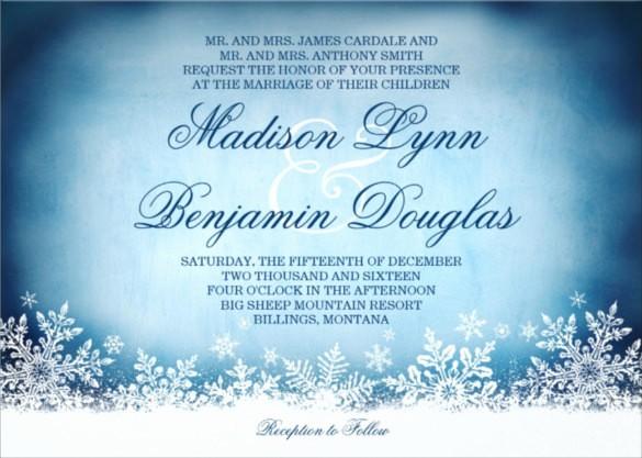 Winter Wonderland Invitation Template Free Elegant 14 Winter Wedding Invitation Templates – Sample Example