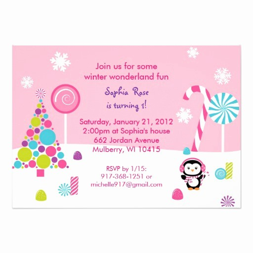 "Winter Wonderland Invitation Template Free Elegant Winter Wonderland Penguin Birthday Invitations 5"" X 7"