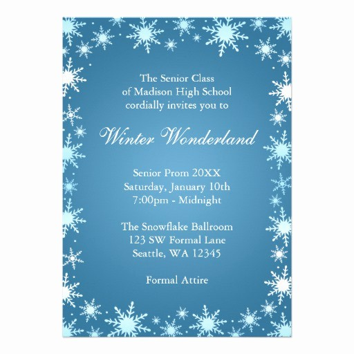 "Winter Wonderland Invitation Template Free Inspirational Winter Wonderland Prom Invitations 5"" X 7"" Invitation Card"