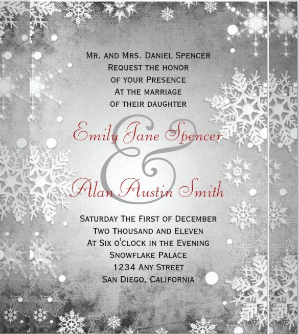 Winter Wonderland Invitation Template Free Luxury 14 Winter Wedding Invitation Templates – Sample Example