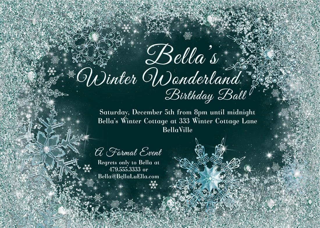 Winter Wonderland Invitation Template Free New Winter Wonderland Party Winter Snowflake Ball Invitation