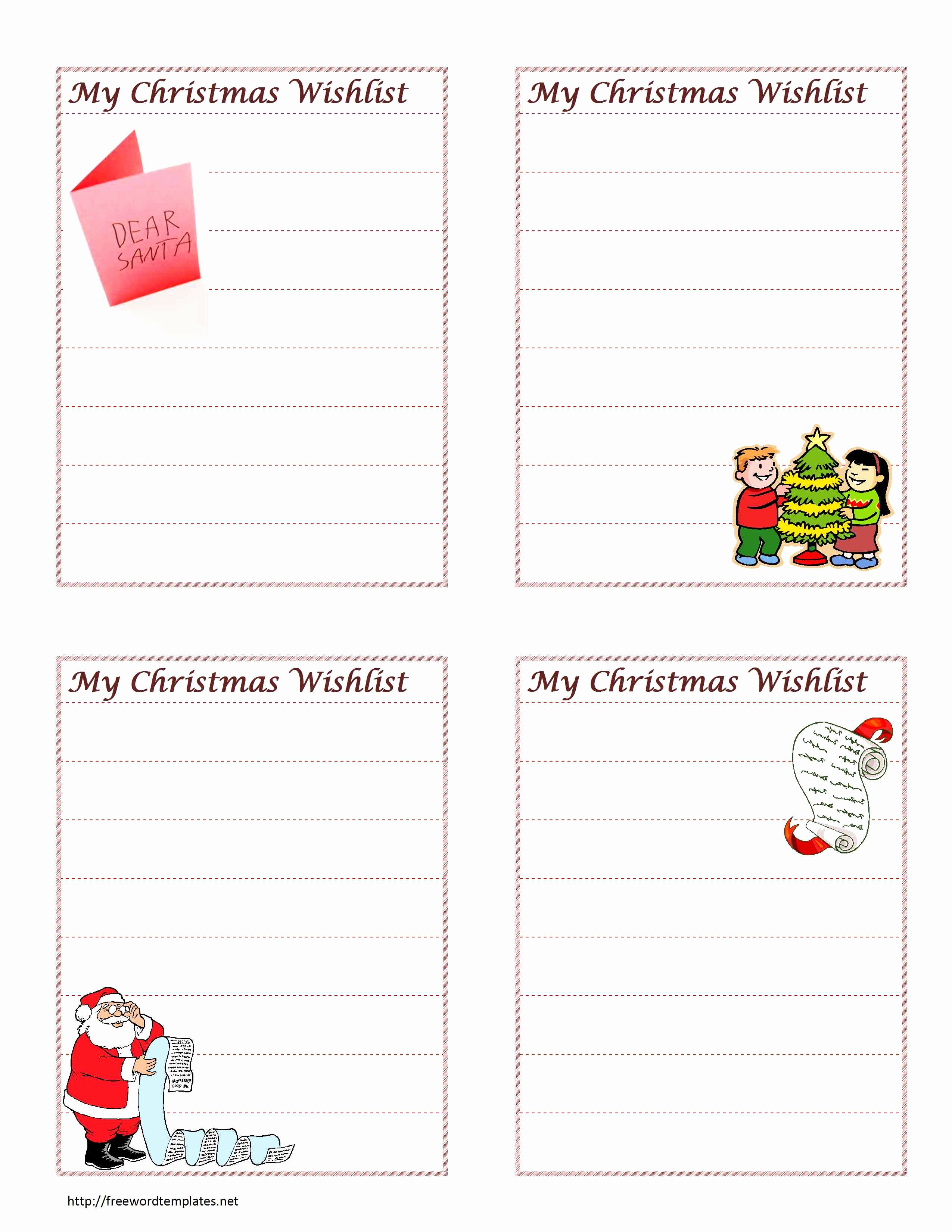 Wish List Template Microsoft Word Awesome Christmas Wish List Template