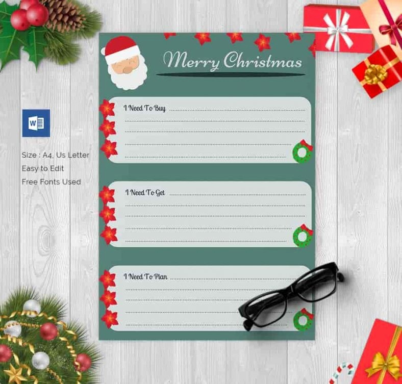 Wish List Template Microsoft Word Elegant 24 Christmas Gift List Templates Free Printable Word