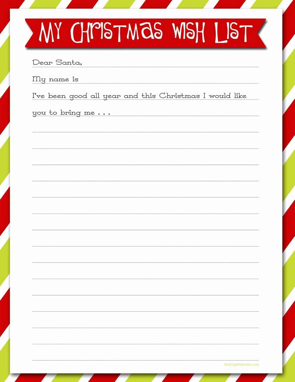 Wish List Template Microsoft Word Elegant 61 Inspirational Christmas Wish List Template Microsoft