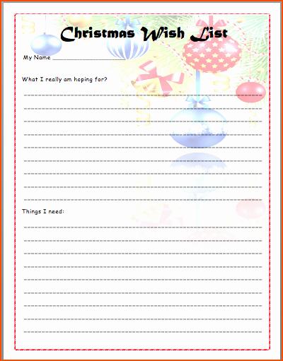 Wish List Template Microsoft Word New 6 Christmas List Template Bookletemplate