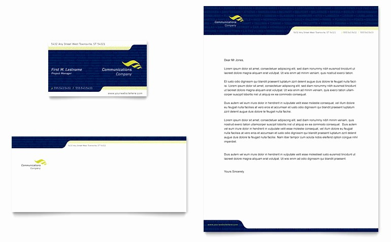 Word Document Business Card Template Best Of Global Munications Pany Business Card & Letterhead