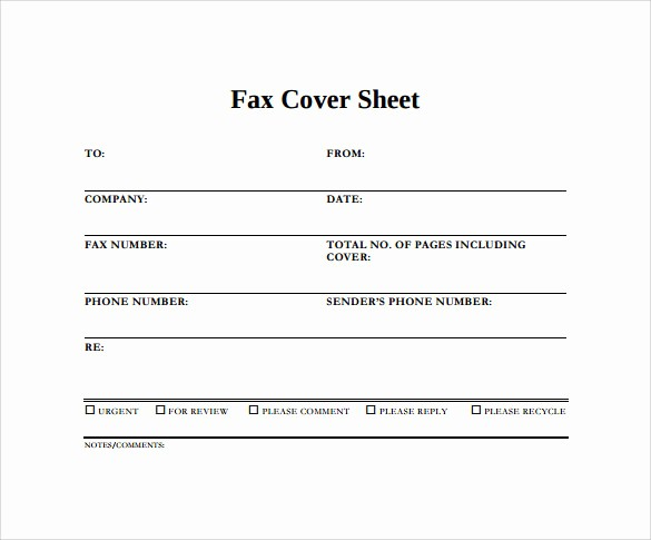 Word Fax Cover Sheet Templates Fresh 15 Sample Blank Fax Cover Sheets