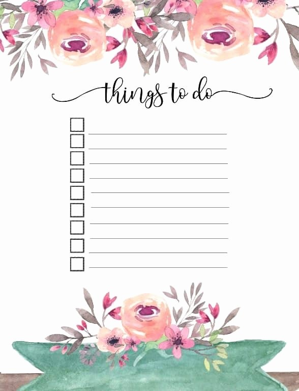 Word for Things to Do Lovely Printable to Do List