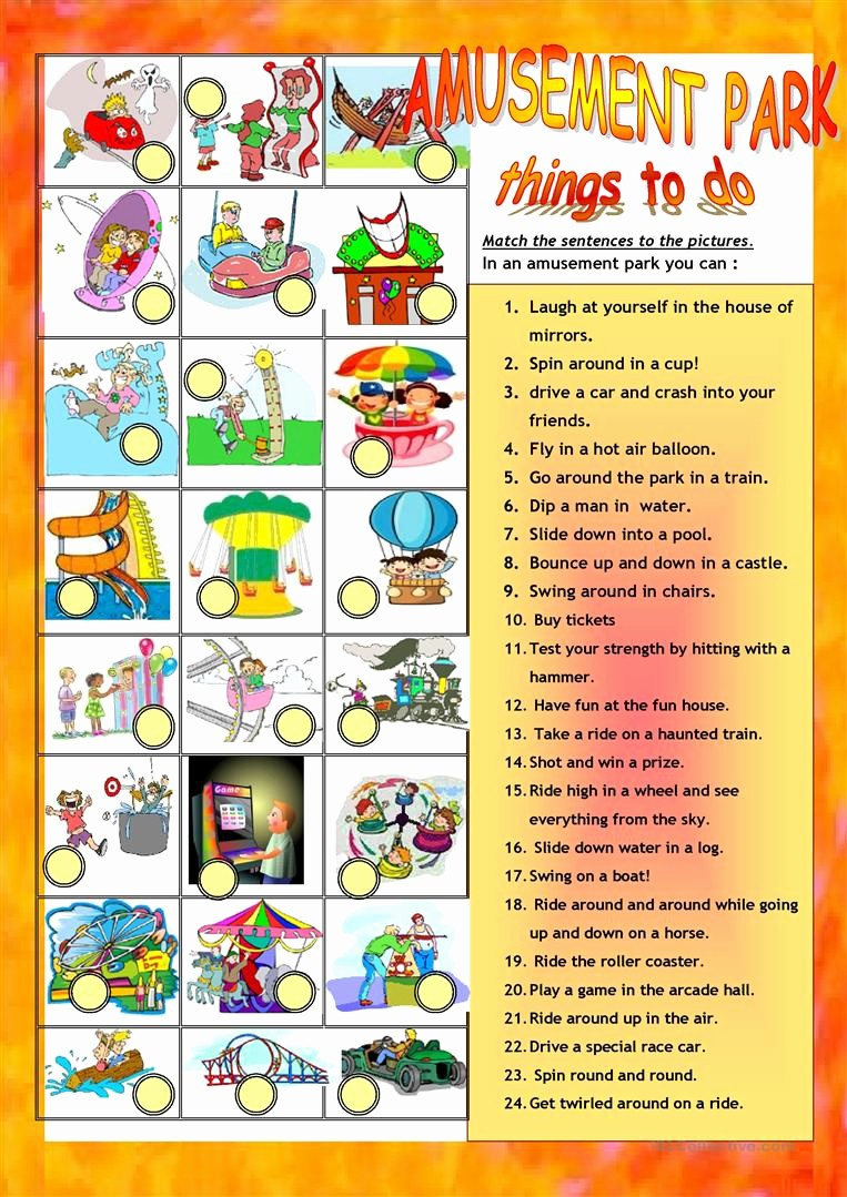 Word for Things to Do Luxury Amusement Parkfair Things to Do Worksheet Free Esl