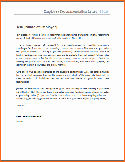 Word Letter Of Recommendation Template Elegant 10 Letter Of Re Mendation Template Word Bud
