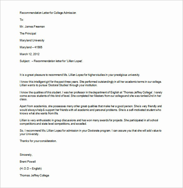 Word Letter Of Recommendation Template Elegant 12 College Re Mendation Letters Doc Pdf