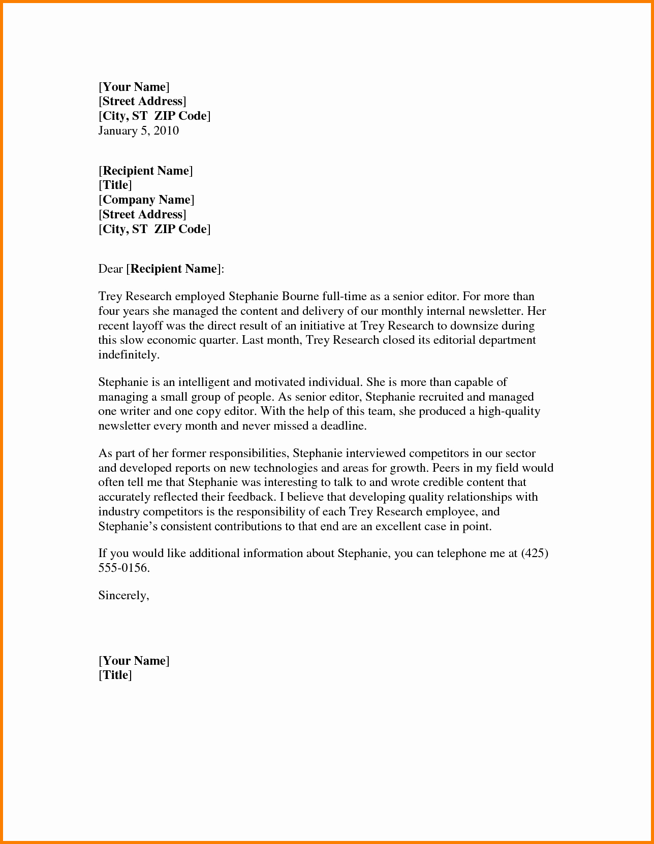 Word Letter Of Recommendation Template Fresh Letter Re Mendation Template Word