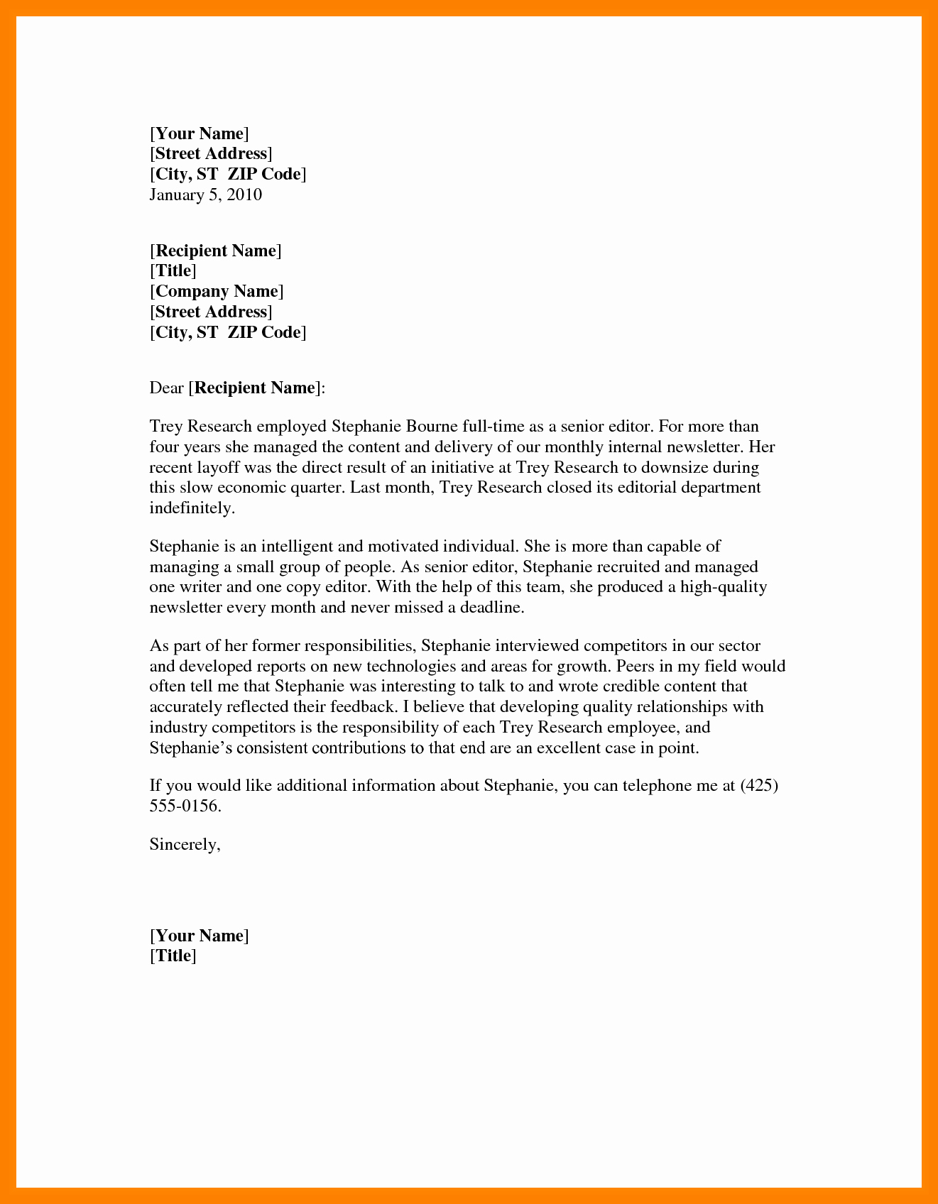 Word Letter Of Recommendation Template Inspirational Professional Letter Template