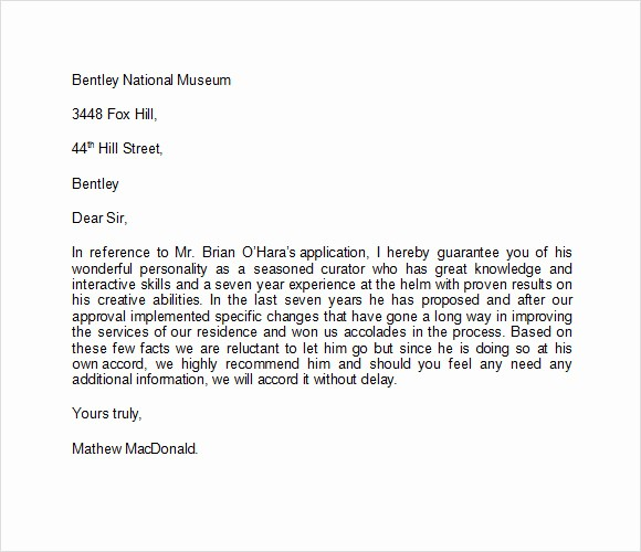 Word Letter Of Recommendation Template Unique Sample Character Reference Letter Template 6 Documents