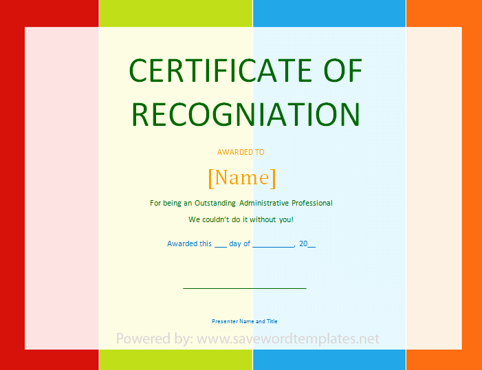 Word Template Certificate Of Recognition Awesome Best S Of Certificate Recognition Template