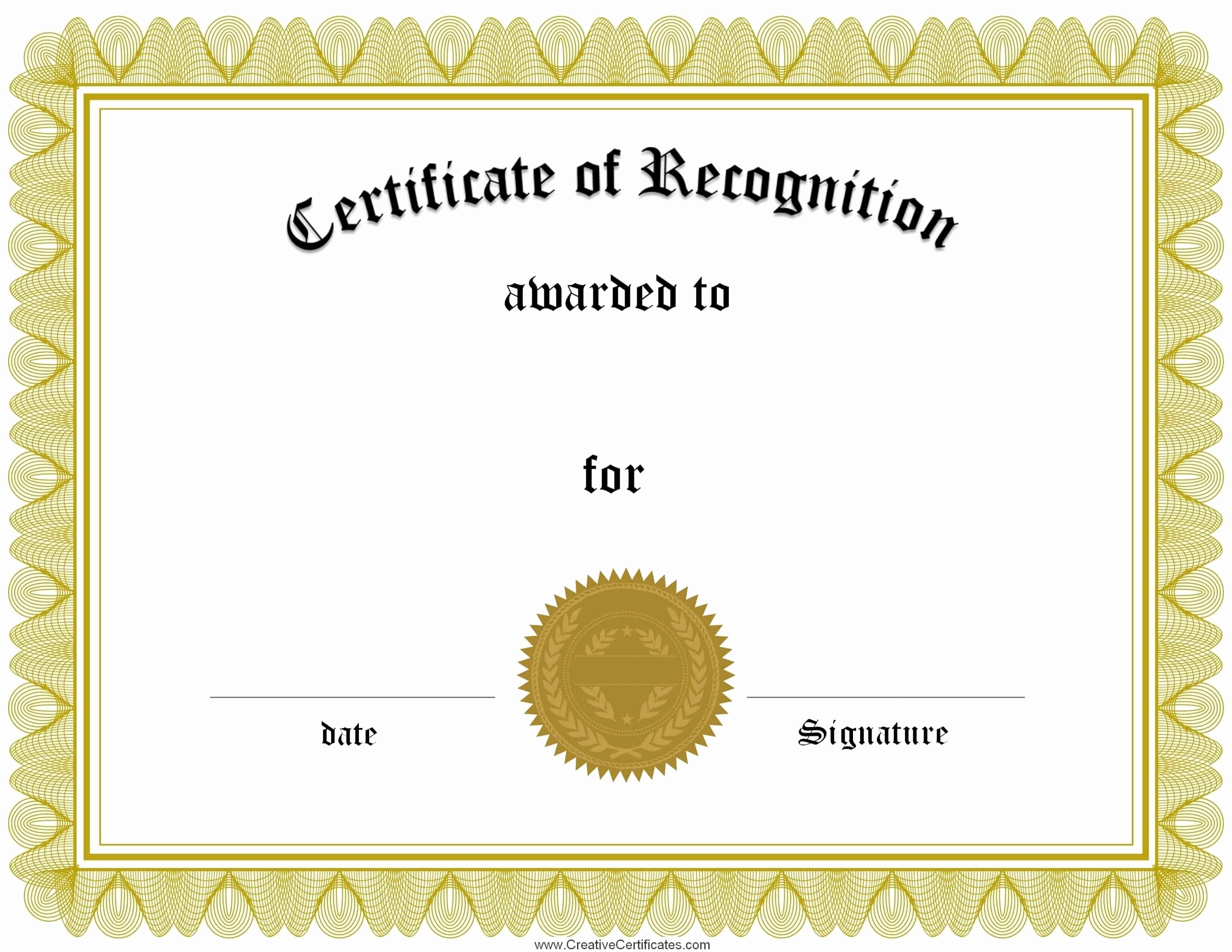 Word Template Certificate Of Recognition Beautiful Free Certificate Of Recognition Template