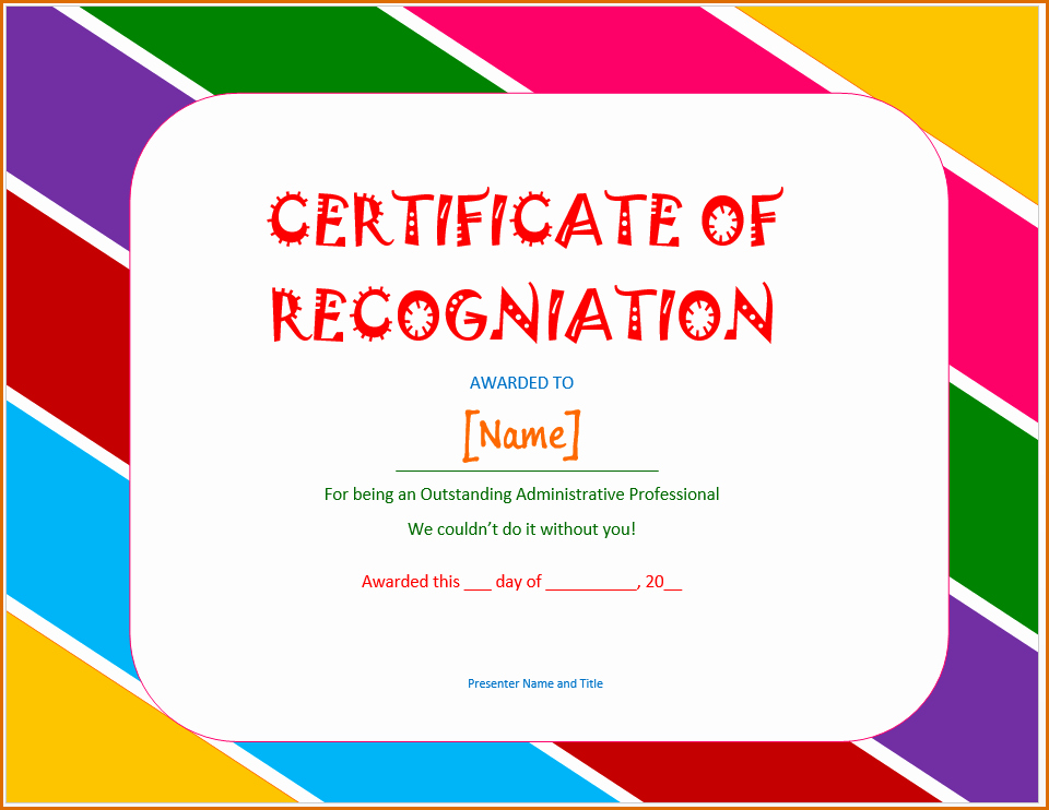 Word Template Certificate Of Recognition Inspirational 13 Certificate Of Recognition Template