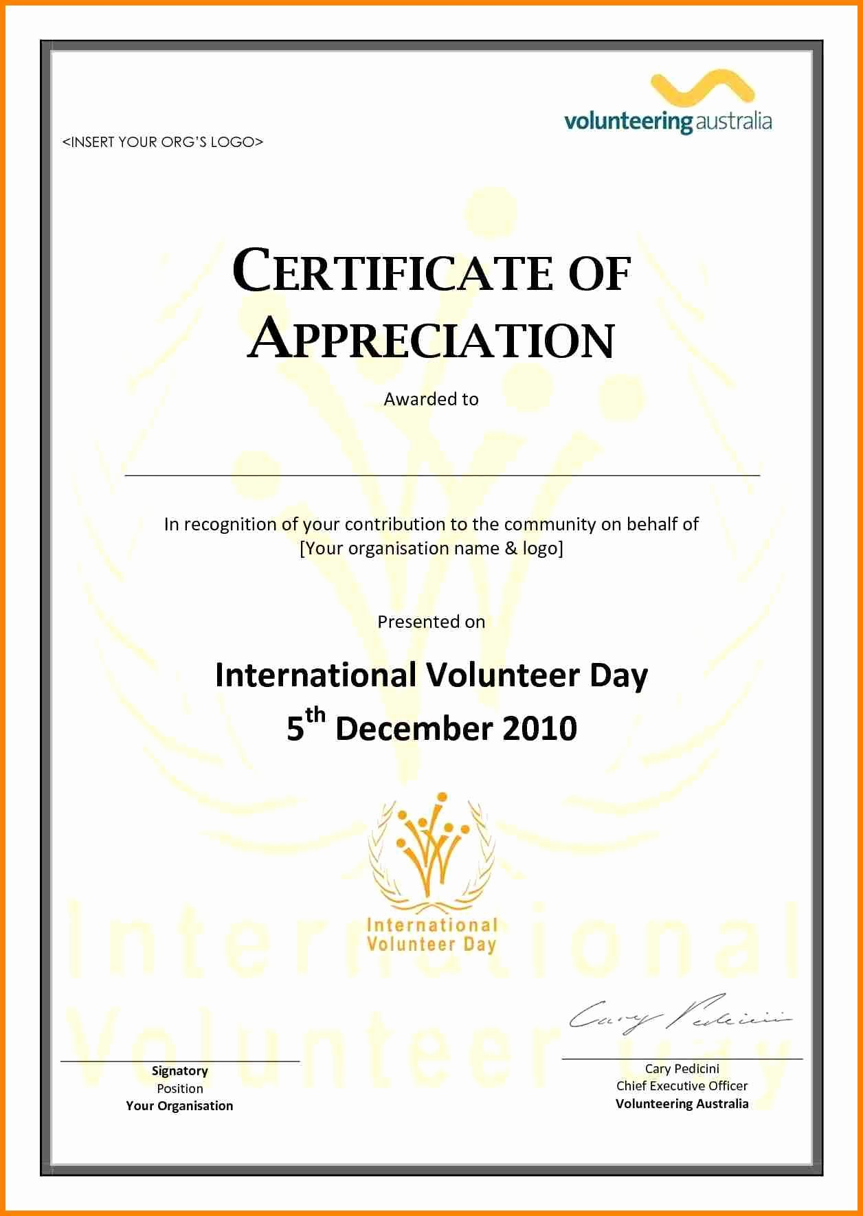 Word Template Certificate Of Recognition Inspirational Volunteer Appreciation Certificate Template