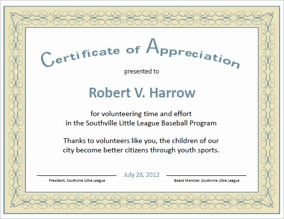 Word Template Certificate Of Recognition Luxury Certificate Of Appreciation Template