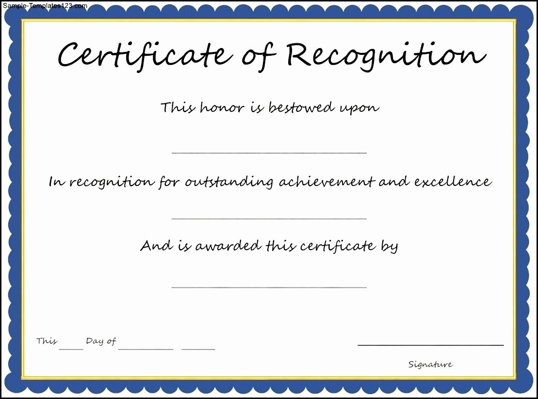 Word Template Certificate Of Recognition Luxury Certificate Recognition Template Best Business Sample