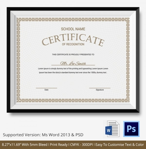 Word Template Certificate Of Recognition New Certificate Of Recognition Template 15 Free Word Pdf