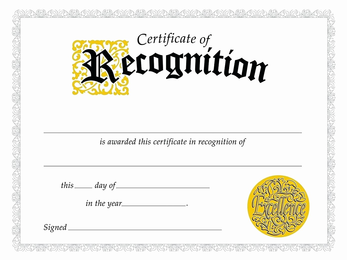 Word Template Certificate Of Recognition New Template Editable Award Certificate Template