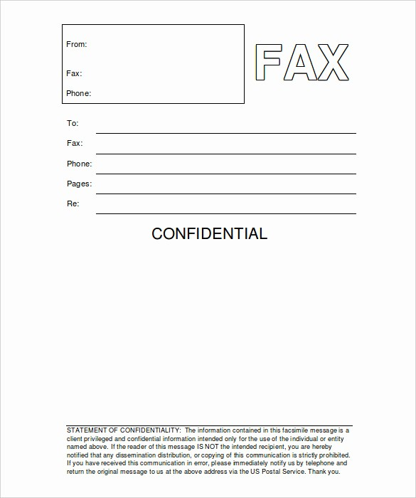 Word Template Fax Cover Sheet Unique 8 Confidential Fax Cover Sheet Word Pdf