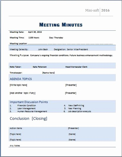 Word Template for Meeting Minutes Awesome Ms Word formal Meeting Minutes Template