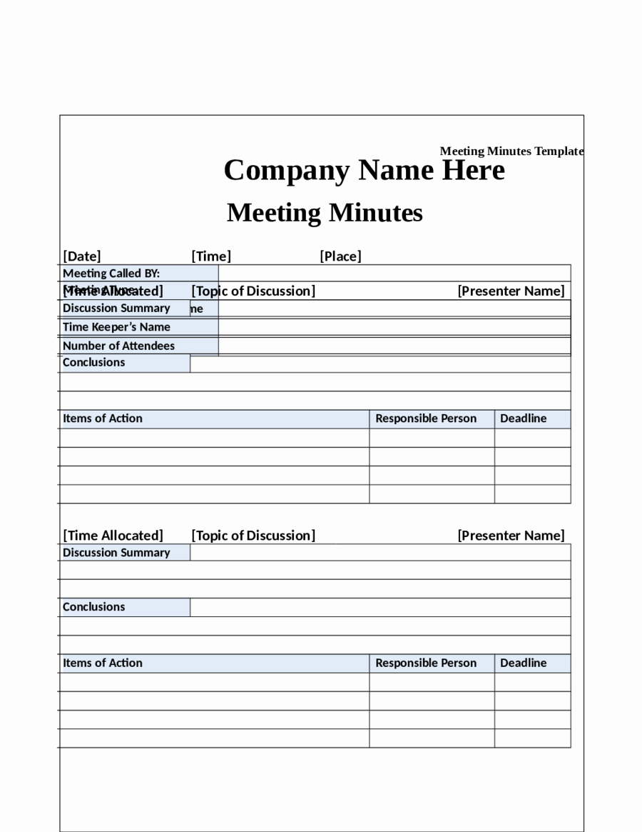 Word Template for Meeting Minutes Elegant 2018 Meeting Minutes Template Fillable Printable Pdf