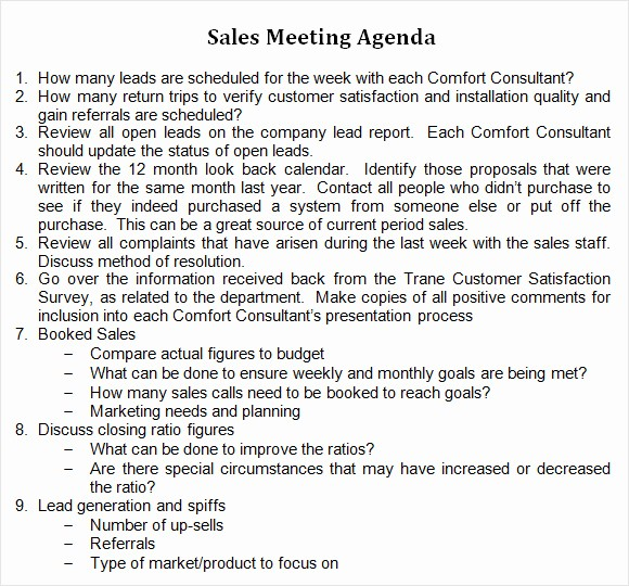 Word Template for Meeting Minutes Fresh 8 Sales Meeting Agenda Templates to Free Download