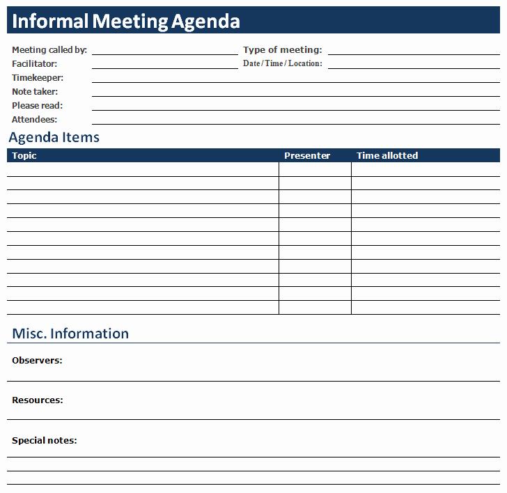 Word Template for Meeting Minutes Luxury Ms Word Informal Meeting Agenda