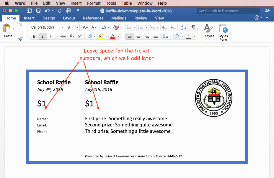 Word Template for Raffle Tickets Awesome the Secret to Creating Numbered Raffle Tickets In Word