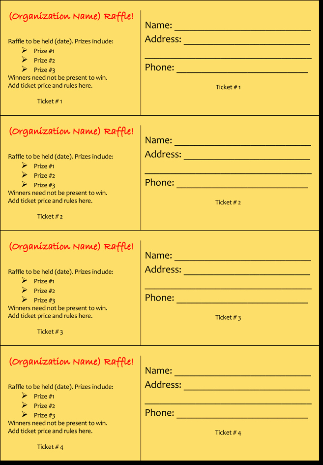 Word Template for Raffle Tickets Elegant 20 Free Raffle Ticket Templates with Automate Ticket