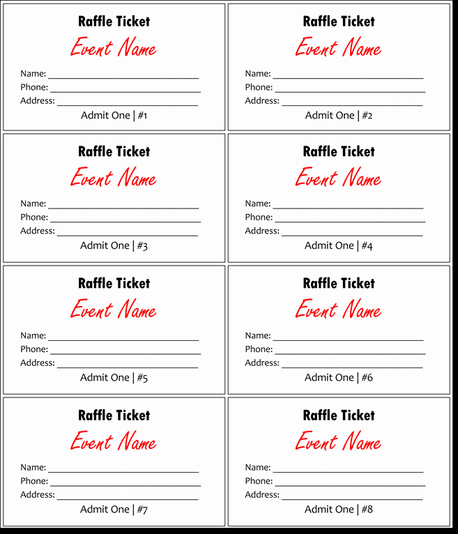 Word Template for Raffle Tickets Fresh Raffle Tickets Template