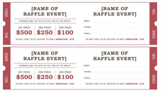 Word Template for Raffle Tickets Lovely Raffle Ticket Template