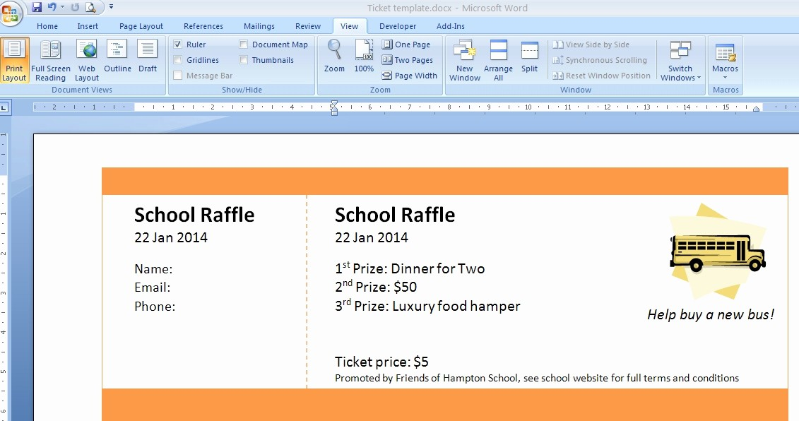 Word Template for Raffle Tickets New Template to Make Tickets Invitation Template