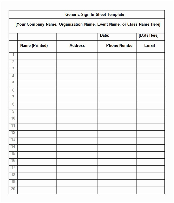 Word Template Sign In Sheet Fresh 75 Sign In Sheet Templates Doc Pdf