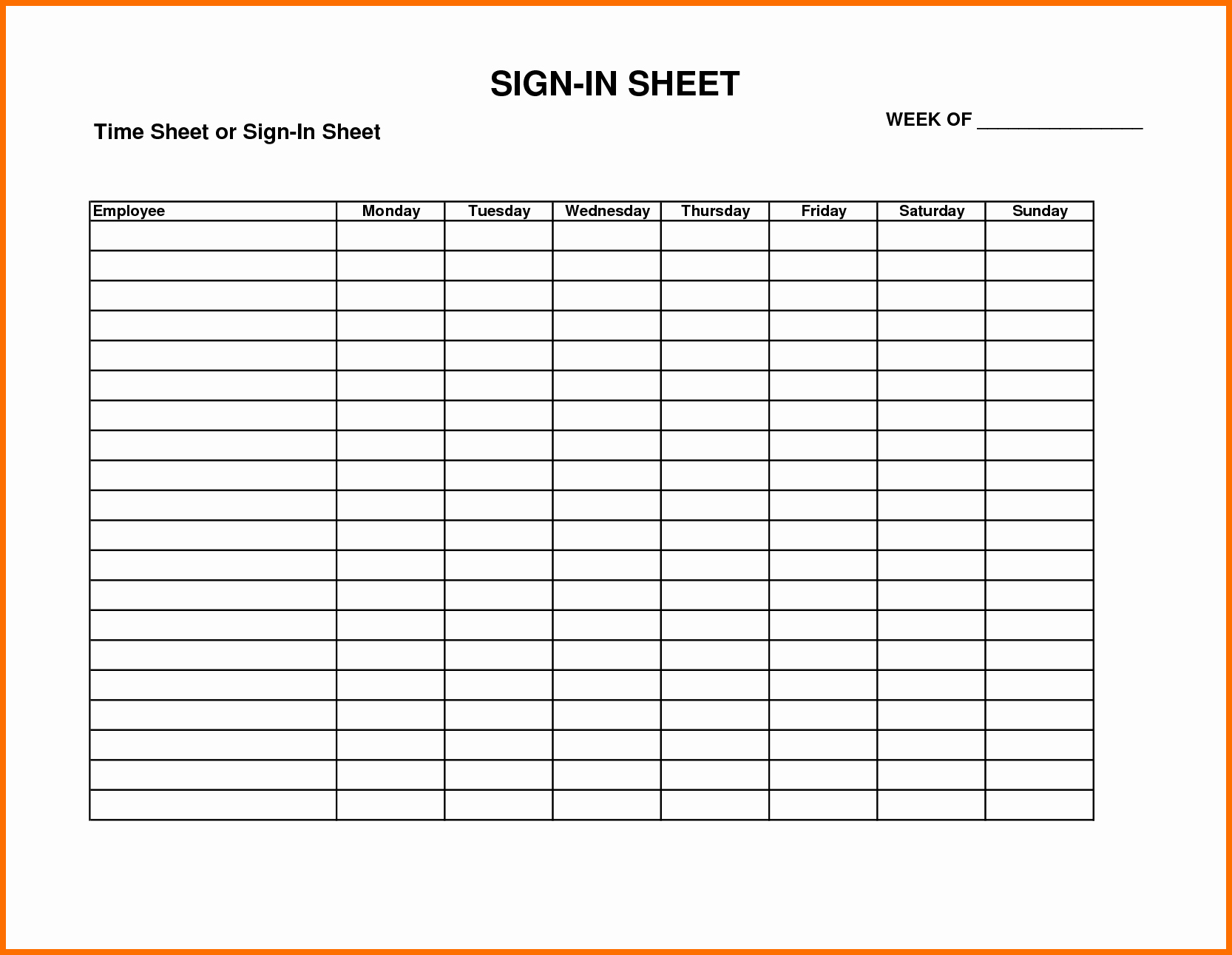 Word Template Sign In Sheet Fresh attendance Sign In Sheet Example Mughals