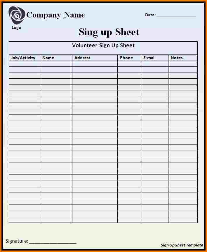 Word Template Sign In Sheet Lovely Sign In Sheets Templates