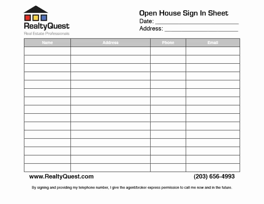 Word Template Sign In Sheet New 30 Open House Sign In Sheet [pdf Word Excel] for Real