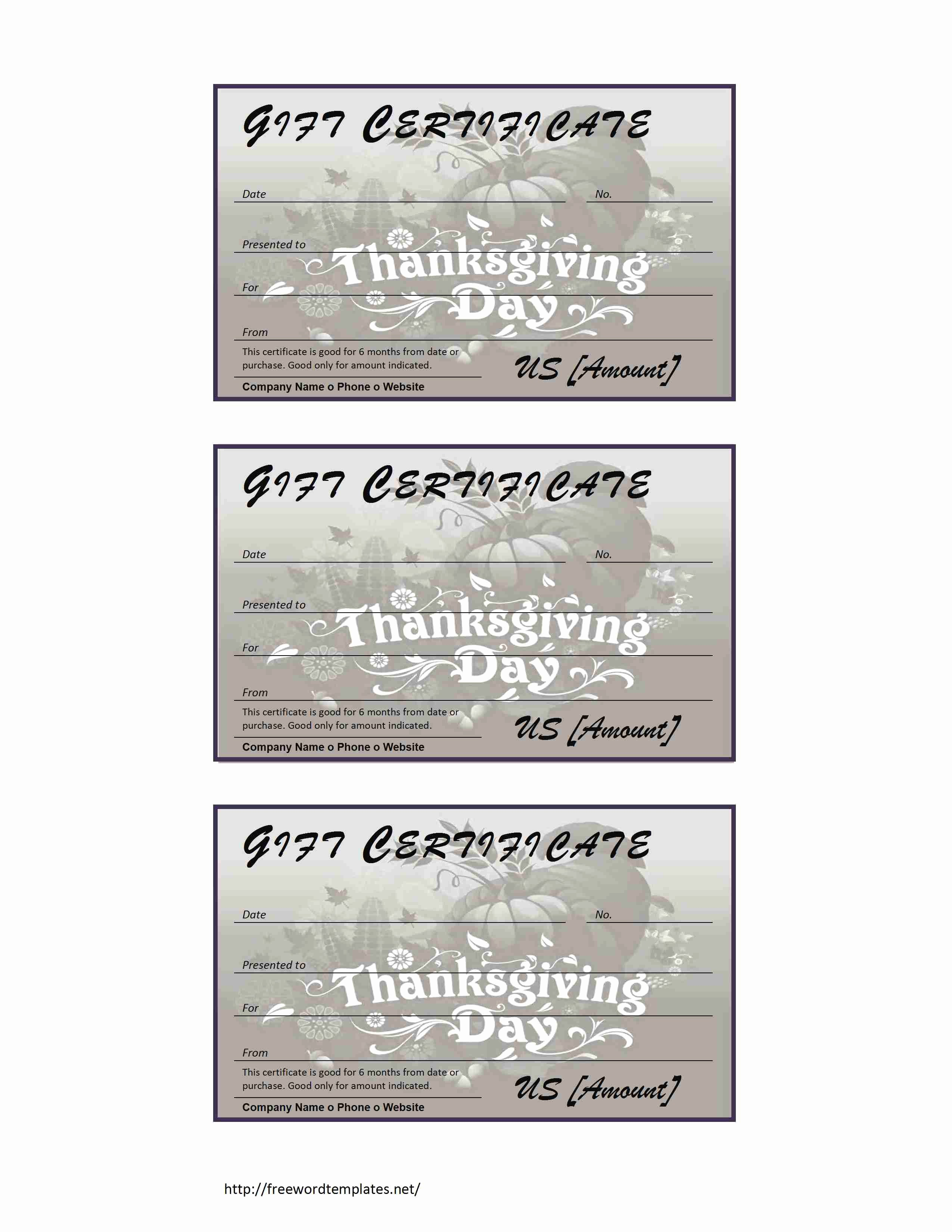 Word Templates for Gift Certificates Best Of Thanksgiving Gift Certificate