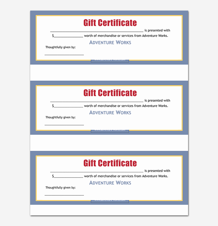 Word Templates for Gift Certificates Elegant 44 Free Printable Gift Certificate Templates for Word & Pdf